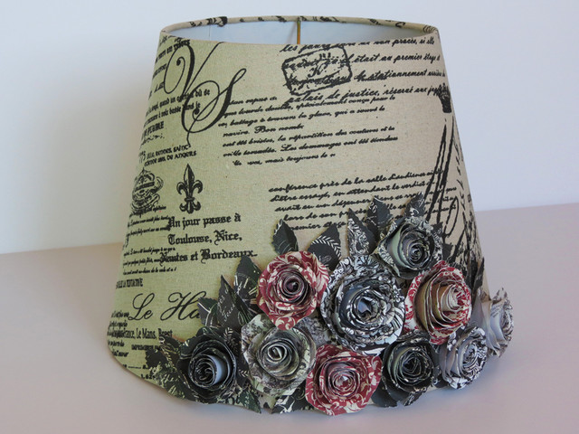 French Country Lamp Shade With Handmade Paper Rose Bouquet