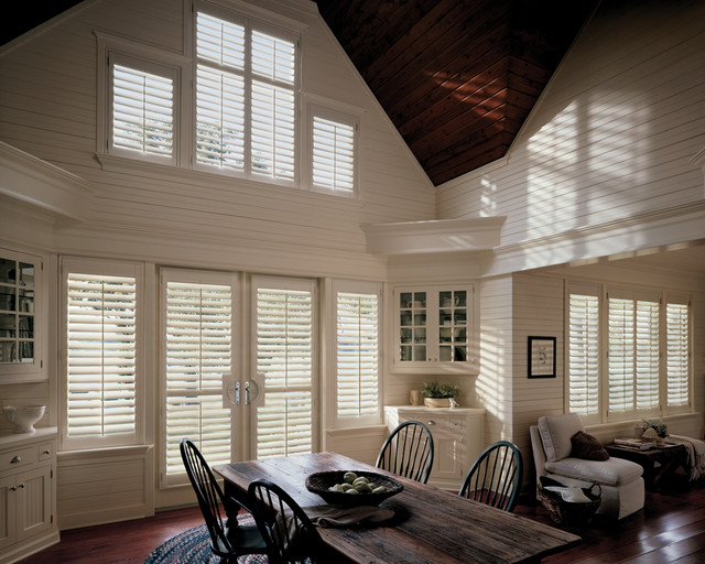 Heritance® hardwood shutters with Front Tilt Bar traditional-window-treatments