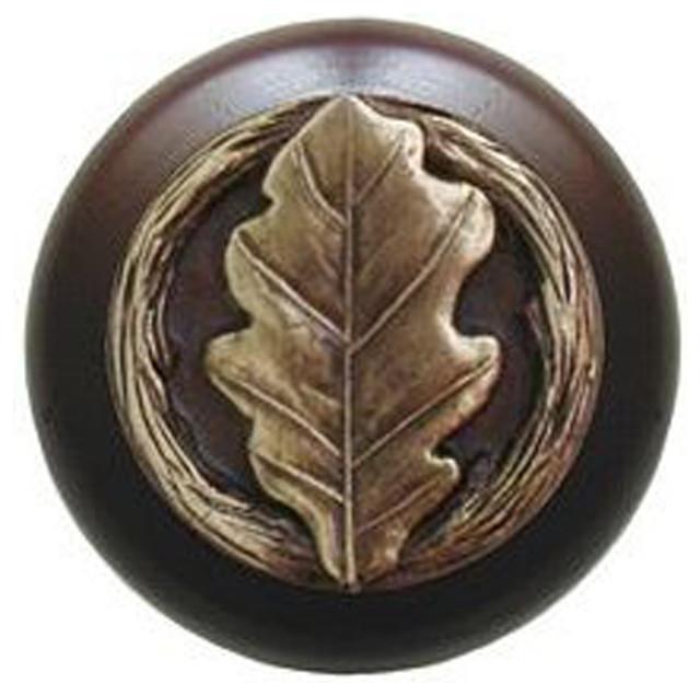 Notting Hill Oak Leaf/Dark Walnut Wood Knob - Antique Brass modern-knobs
