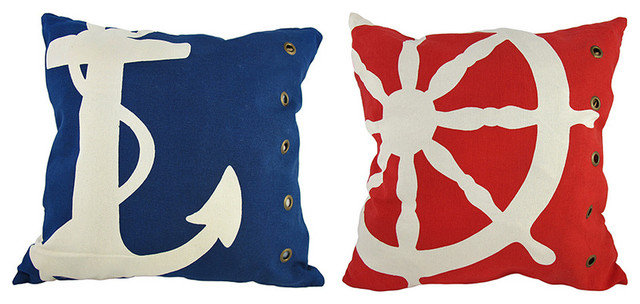 Pair of Red/Blue Riveted Nautical Throw Pillows 18 In. x 18 In. contemporary-decorative-pillows