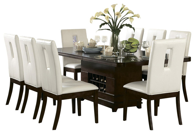 pedestal dining table with wine storage traditional dining tables