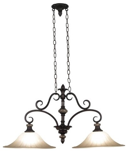 Kenroy Home Leafston Island Light 80292MBZ - 36W in. Mercury Bronze traditional ceiling lighting