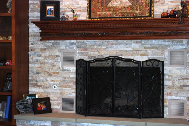 ornate maple fireplace mantel transitional cleveland