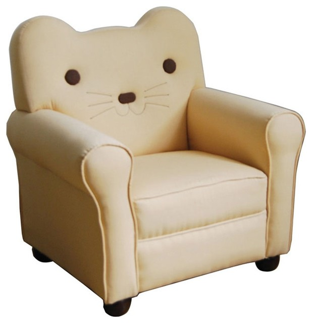 Kitty Youth Accent Arm Chair Yellow Cat Design Back