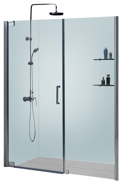 "Elegance Frameless Pivot Shower Door, 58 - 60"" W x 72"" H, Brushed Nickel modern-shower-doors"