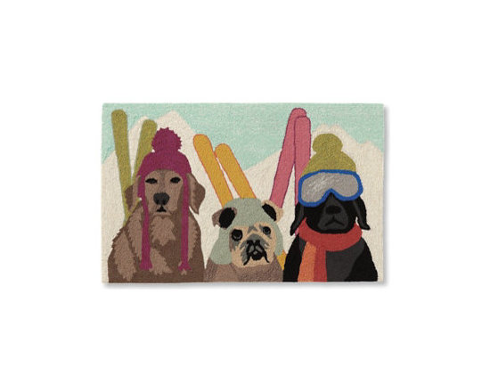 Grandin Road - Ski Patrol Mat - Door mats and runner depicting 3 dogs as skiers. Handcrafted from high-performance polyacrylic fibers. Low-profile design slips easily beneath most doors. Who wouldn't love to be rescued from the slopes by the three handsome pooches depicted in our colorful Ski Patrol Door Mats and Runner? Ideal for the dog owner, or anyone who can just appreciate an imaginative touch of canine-inspired whimsy at an entryway, in a mudroom, basement, and more. Delightfully designed with three different dog breeds sporting their own winter headwear and set of skis.  .  .  . Imported.
