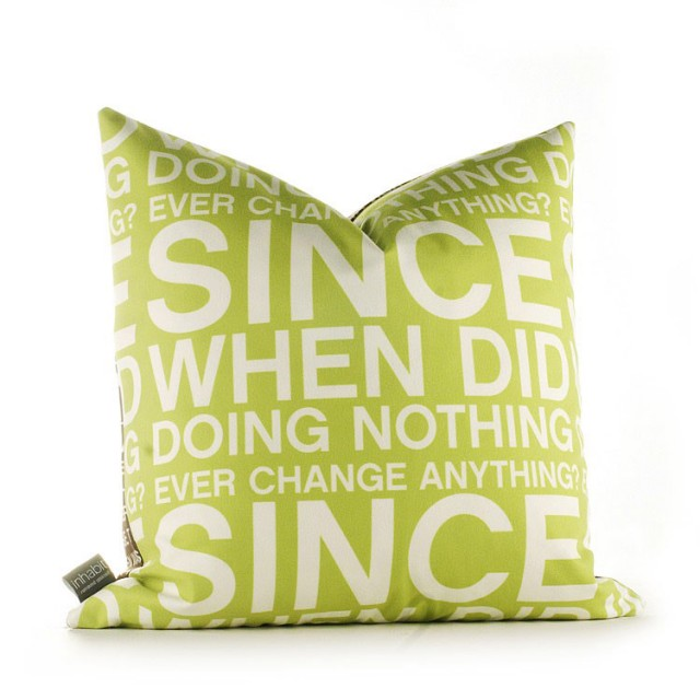 Since When Pillow in Lime contemporary pillows