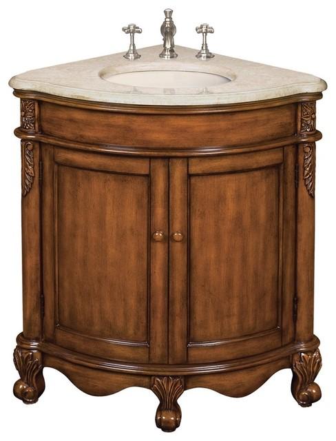 Belle Foret 80060R Single Corner Vanity In Vintage Oak Traditional Bathro