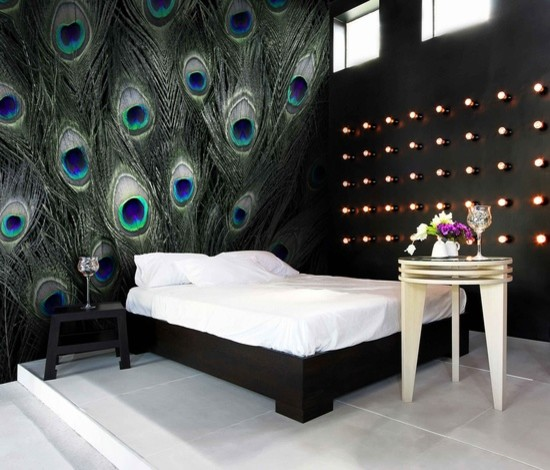 Peacock Themed Bedroom: Blue Peacock Feather Pattern Wall Murals
