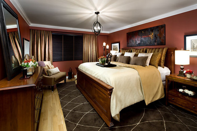 Jane lockhart red gold bedroom traditional toronto for Bedroom ideas red and gold