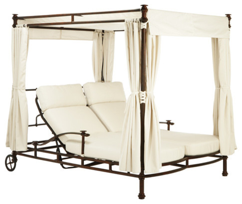 Adjustable double chaise with wheels loose cushions for Canopy chaise lounge