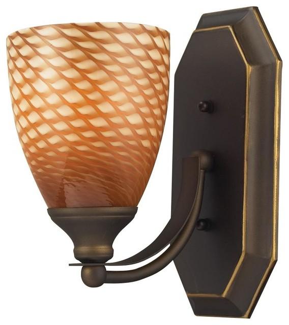 One Light Aged Bronze Coco Glass Bathroom Sconce tropical-bathroom-vanity-lighting