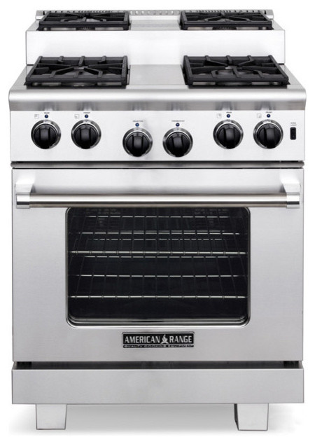 """American Range 30"""" Step-up 4 Sealed Burners Range, Stainless Steel 