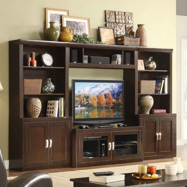 Turnberry 4 piece entertainment wall unit with 56 in tv for Traditional wall units