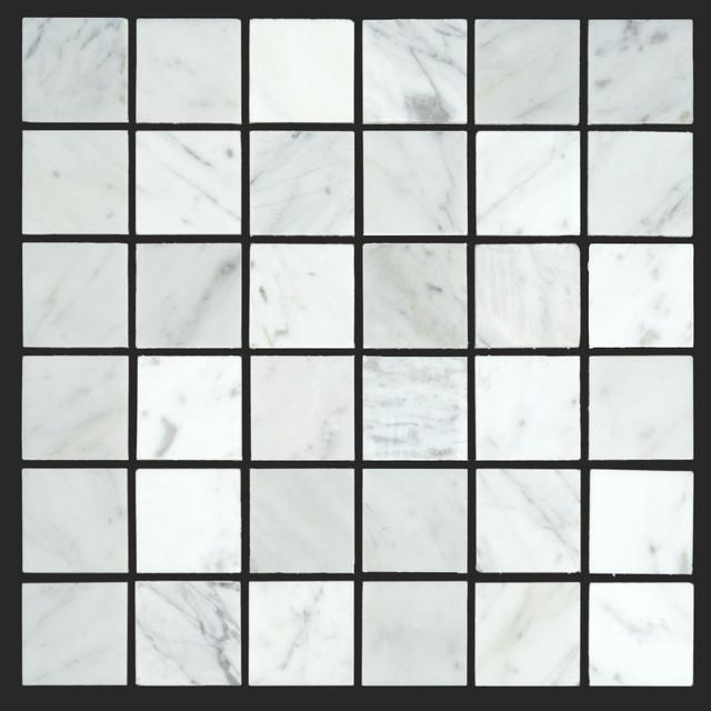 Bianco Carrara White Marble Carrera 2x2 Mosaic modern-wall-and-floor-tile