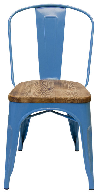 Decorating small 1 2 bathrooms - Set Of 2 Bastille Cafe Stacking Chair With Wood Seat Sky Blue Modern