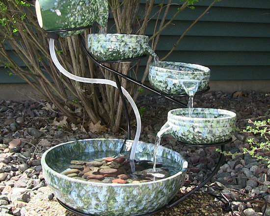 Outdoor Classics Decorative Green Ceramic Cascade Solar Fountain -