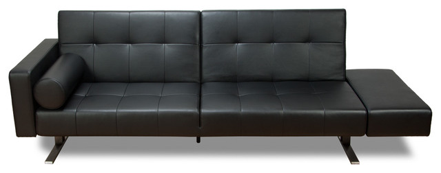 Marvelli Black Faux Leather Sofa Bed Modern Futons