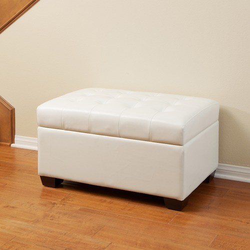 Lima Bonded Leather Tufted Ottoman Bench modern-footstools-and-ottomans
