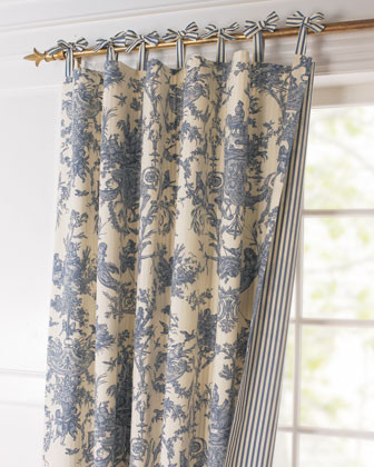 Toile Linens Toile Reversible Curtain traditional-curtains