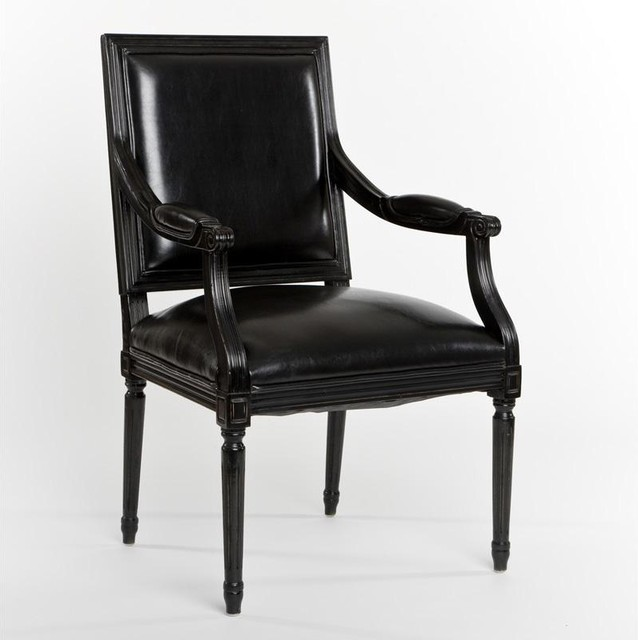 French Style Black Leather Chair contemporary-armchairs