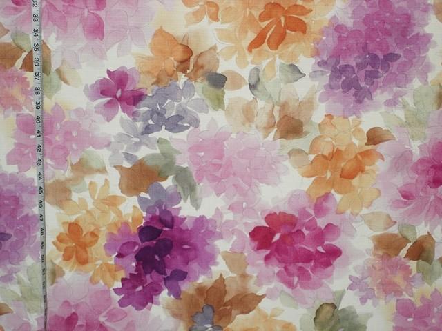 Watercolor Fabric, Floral Purple and Orange, Standard Cut contemporary-fabric