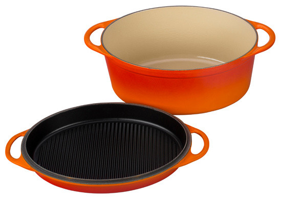 7-1/4-quart Multifunction Oval Oven with Grill Pan Lid contemporary-griddles-and-grill-pans