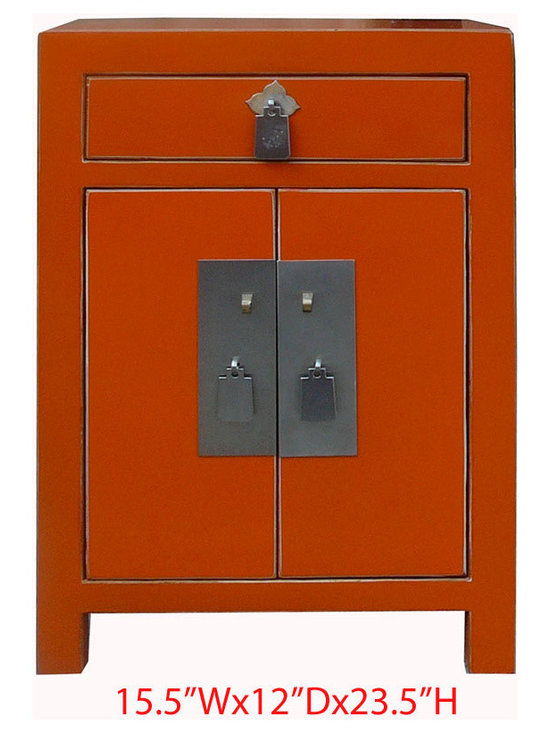 Nightstand End Table Chinese Orange Lacquer Silver Hardware Cabinet -