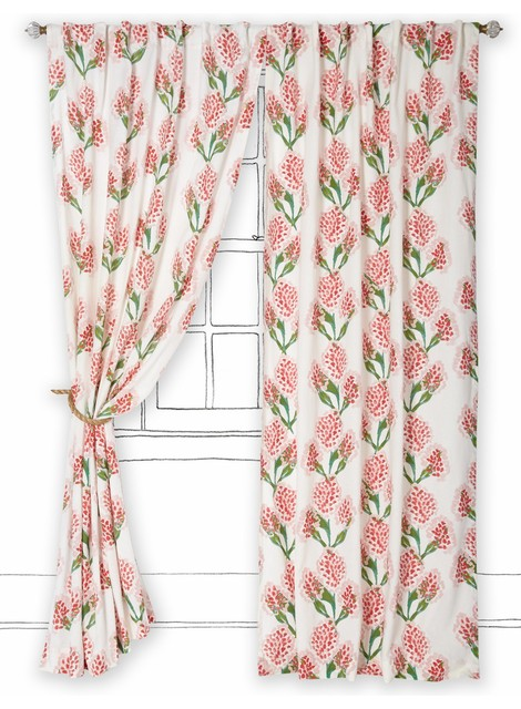 Speckled Blooms Curtain, Pink contemporary-curtains