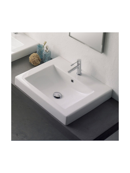 "Scarabeo - Stylish Contemporary Built-In Square Ceramic Sink - Contemporary white ceramic built-in square bathroom sink. Scarabeo designs and manufactures this sink in Italy. Trendy bathroom vanity sink with overflow and option of a single faucet hole (as shown), no holes, or 3 holes. Sink dimensions: 20.10"" (width), 6.30"" (height), 17.80"" (depth)"