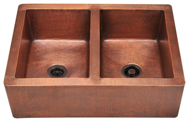 MR Direct 912 Copper Apron sink, Copper Strainer and Copper Flange rustic-kitchen-sinks