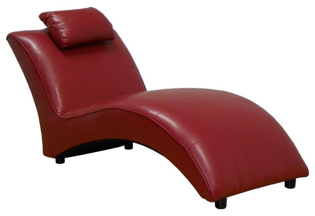 Chaise Lounge in San Marin Red Contemporary Indoor Chaise Lounge Chairs