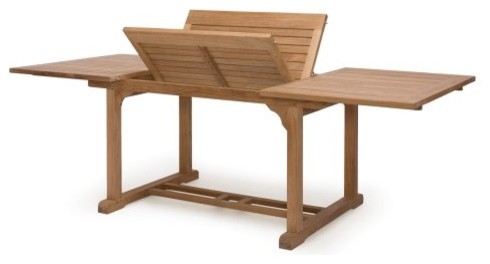 Caluco Teak 60 - 96 in. Extension Rectangular Patio Dining Table traditional-outdoor-dining-tables
