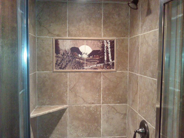 Bathroom tile mural elk mural by designers choice tile for Bathroom mural tiles