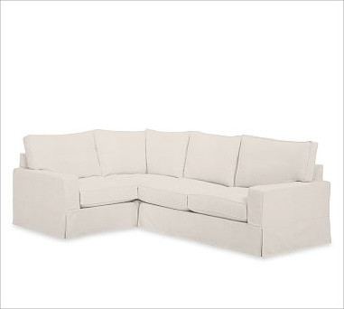 PB Comfort Square 3-Piece Sectional, Down Blend Wrap Cushions, Twill Cream traditional-sectional-sofas
