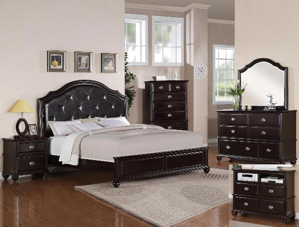 Crown mark 5 pc transitional espresso finish queen for Mark v bedroom volume