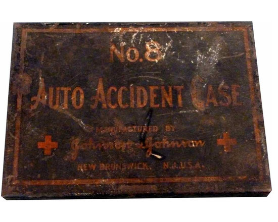 Auto emergency kit box - Such a cool antique box with original safety instructions inside the lid. Johnson and Johnson brand