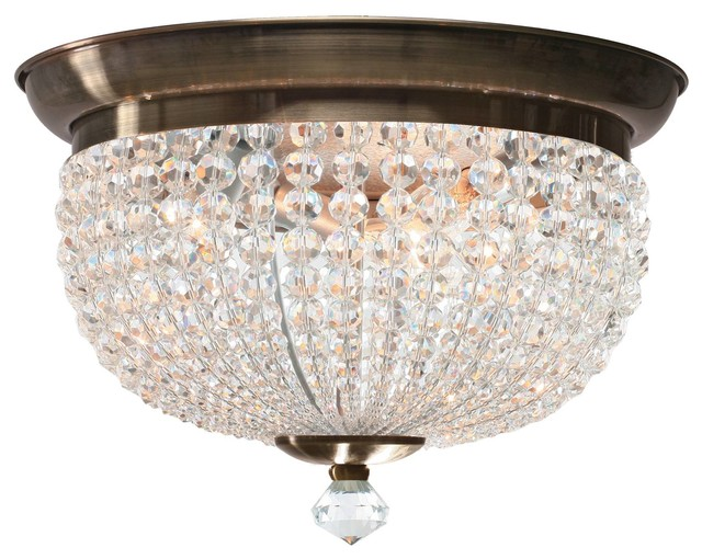 Westmenlights Vintage Small Ceiling Light Flush Mount: Crystorama Newbury Flush Mount Ceiling Fixture In Antique