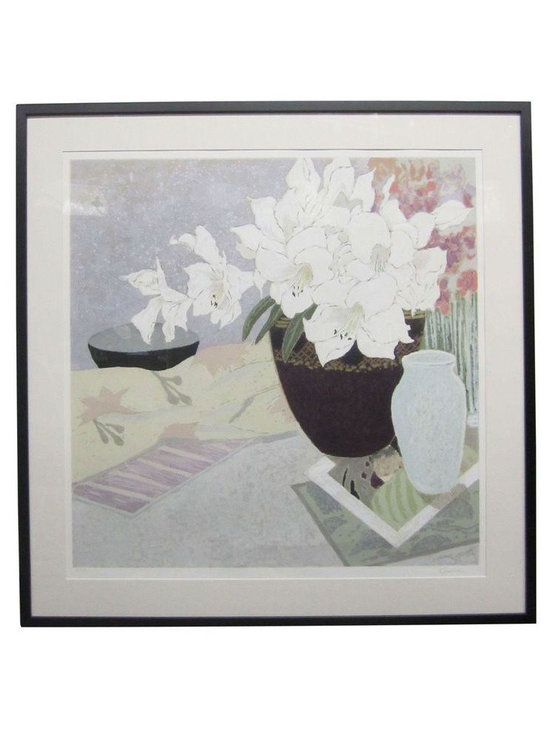Used Framed Floral Serigraph by Ellen Gunn - Floral still life by listed artist Ellen Gunn (b. 1951). Limited serigraph, numbered 231/350 and signed at bottom. New mat and wood frame painted black. Gunn studied at Parsons School of Design and the School of Visual Arts in New York. She continued honing her printmaking skills at the Kala Institute and the California College of Arts and Crafts. Gunn's numerous corporate and public collections include the SF MOCA, the Honda Motor Company, Northrop Aviation and the Hilton Hotel Corporation.