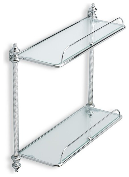 double glass bathroom shelf chrome traditional bathroom cabinets and shelves by thebathoutlet