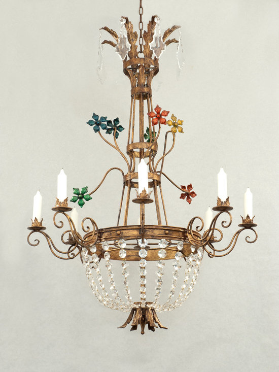 Miss Millie Chandelier - Art | Harrison Collection - Shown in a distressed and gilded finish with Enamel Flowers and Crystal Accents.