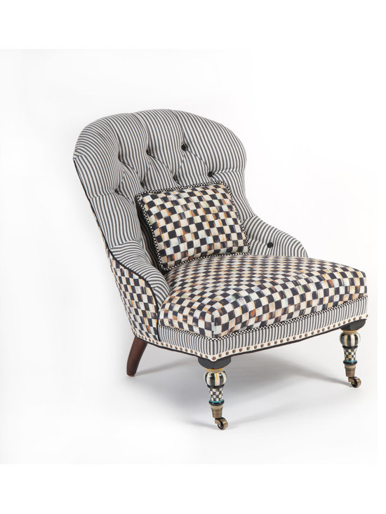 Courtly Check Underpinnings Accent Chair | MacKenzie-Childs - Mingling Courtly Check® and ticking stripes, the stage is set for a lively exchange of ideas. Made in the U.S., the Accent Chair features an eco-friendly frame of sustainably harvested hardwood and eight-way hand-tied coil construction for outstanding comfort. Antique brass nailhead trim and castered legs. Includes one reversible Courtly Check®/ticking stripe lumbar pillow. All green-manufactured in our commitment to domestic manufacturing and responsible practices.