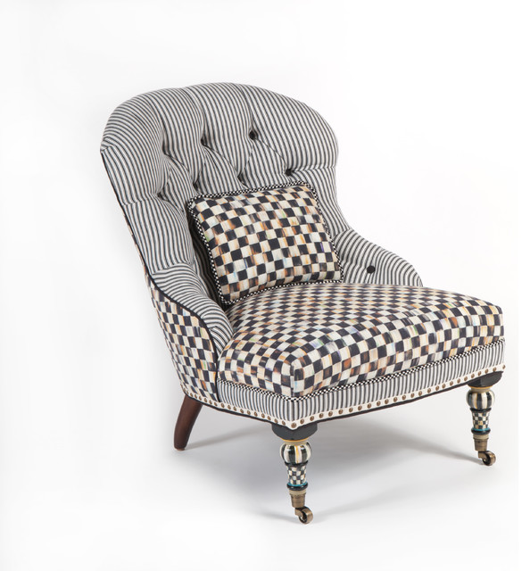 Courtly Check Underpinnings Accent Chair   MacKenzie-Childs eclectic-living-room-chairs