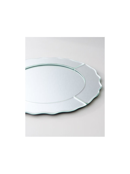"Horchow - Mirrored Charger Plate - Round charger plate with pieced border has a scalloped rim. And the best part? Its versatility is quintessential. Hand wash. 13""Dia. Imported."
