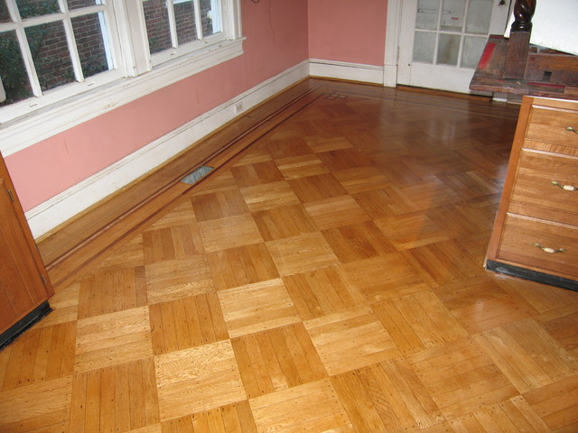 Historic oak parquet with decorative border dc metro for 151 west broadway 4th floor