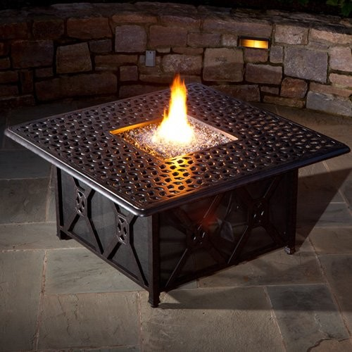 Alfresco Home Ramblas 48 in. Square Gas Fire Pit Chat Table with Firebead Blue L contemporary-fire-pits