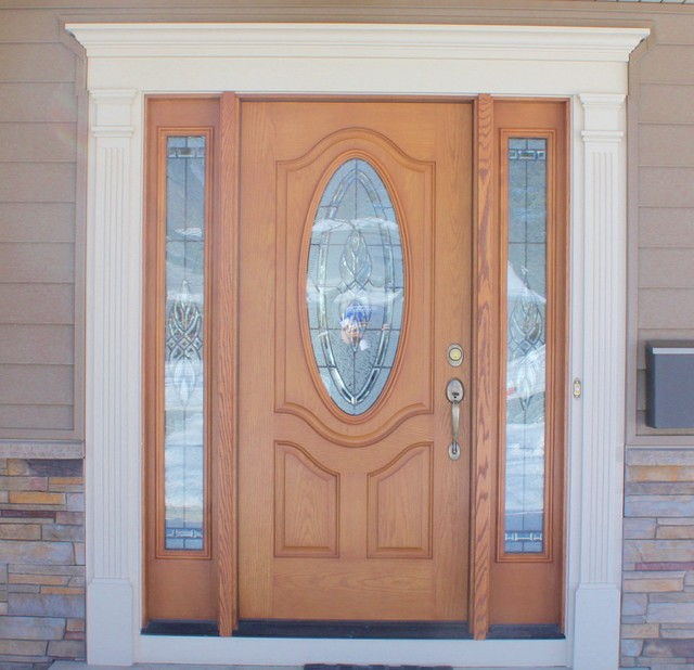 Wood Grain Front Door With Oval Window Decorative White Trim Modern Front Doors Other