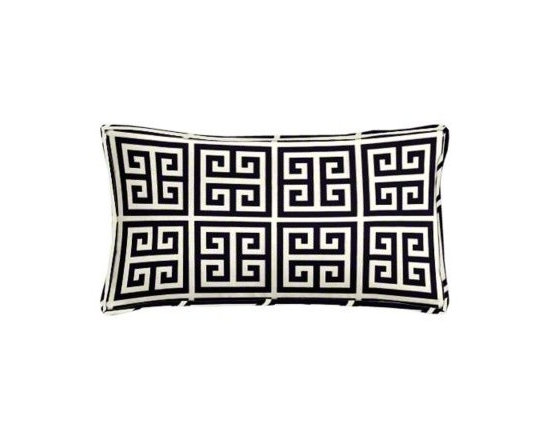 "Cushion Source - Navy Greek Key Lumbar Pillow - The 20"" x 12"" Navy Greek Key Lumbar Pillow features a classical geometric Greek key pattern in navy and natural."