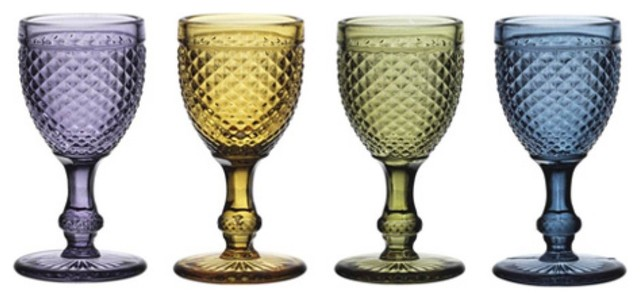 Godinger Belmont 2 oz. Cordial Glasses - Set of 4 Assorted Colors modern-everyday-glasses