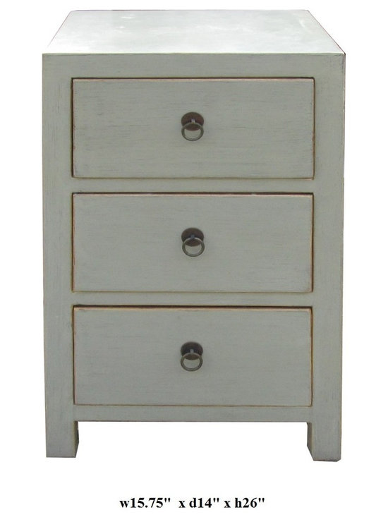 Chinese Light Gray White 3 Drawers Cabinet Table - This is a 3 drawers end table painted with light grayish white color and decorated with simple round handle.